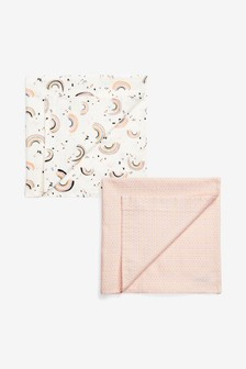 2 Pack Pink Geo And Rainbow Muslin Squares