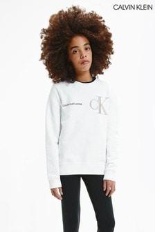Calvin Klein White Raised Monogram Sweatshirt