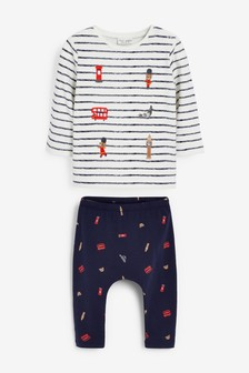 London Bus Jersey And Leggings Set With Stretch (0mths-2yrs)