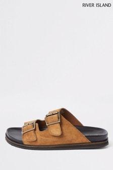 River Island Brown Buckle Strap Suede Sandals