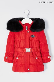 River Island Red Ruched Padded Jacket