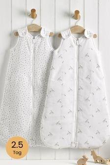 2 Pack Cream Gentle Giraffe 2.5 Tog Sleep Bags