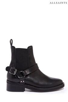 AllSaints Black Salome Biker Cow Boots