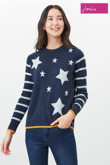 Joules Blue Chantelle Knitted Star Intarsia Jumper