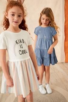 Платье с вышитой радугой (3-12 лет)
