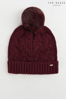 Ted Baker Peppier Faux Fur Pom Knitted Cable Hat
