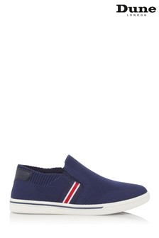 Dune London Tycoon Navy Fabric Knit Stripe Slip-Ons