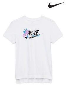 חולצתטי עם הבזק פרחונישלNike בלבן