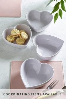 Grey Hearts Set of 4 Cereal Bowls