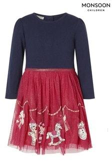 Рождественское платье для малышей в красно-синей гамме Monsoon Xmas Disco
