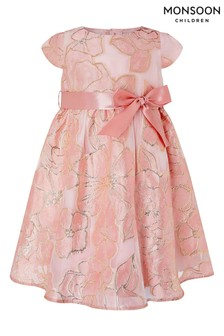 Monsoon Pink Baby Chelsea Jacquard Dress