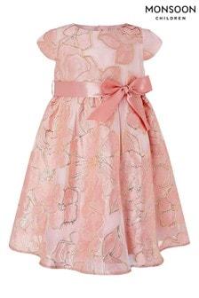 Monsoon Baby Chelsea Jacquard-Kleid, Pink