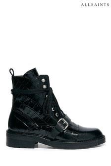 Черные ботинки с эффектом крокодиловой кожи AllSaints Donita Croco