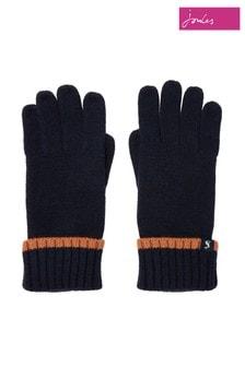 Joules Navy Snowday Longer Length Gloves