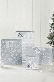 Набор подарочных пакетов с рождественским мотивом (4 шт.)