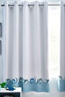 Blue Watercolour Dino Eyelet Blackout Curtains