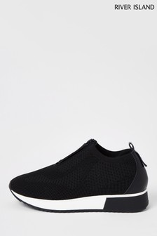 River Island Black Zip Front Runner Trainers