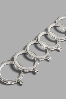 Harper Diamante Stud Chrome 28mm Metal Curtain Pole Rings 6 Pack