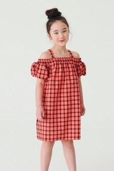 Платье в клетку с открытыми плечами (3-16 лет)