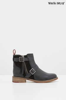 White Stuff Black Brit Buckle Leather Ankle Boots
