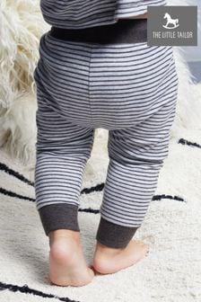 מכנסיים בגזרה משוחררת מג'רזי עם פסים של The Little Tailor דגם Yarn Dyed באפור
