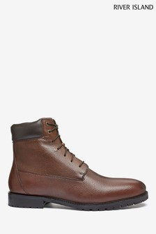 River Island Brown Tumbled Leather Boots