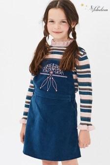 Velveteen Blue Bibi Embellished Pinafore Dress