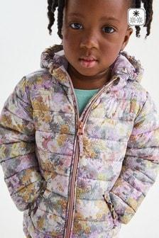 Дутая водоотталкивающая куртка с цветочным принтом (3 мес.-7 лет)