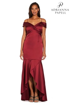Adrianna Papell Red Cold Shoulder Satin Gown