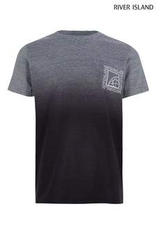 River Island Grey Textured Fade T-Shirt