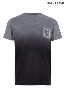 River Island T-Shirt mit strukturiertem, verblasstem Design, Grau
