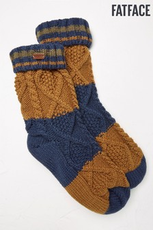 FatFace Navy Stripe Cable Bed Socks