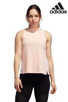 Розовая свободная майка с 3 полосками adidas
