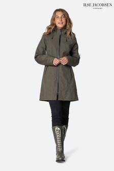 Ilse Jacobsen Green Three Quaters Softshell Raincoat
