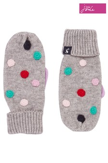 Joules Grey Caldwell Luxe Pom Pom Mittens