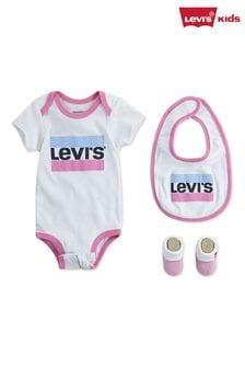 Ensemble Levi's® Kids rose avec grenouillère et logo style sport pour bébé
