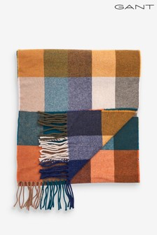GANT Mens Orange Multi Check Wool Scarf