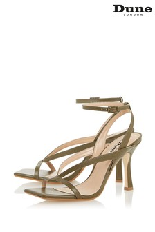 Dune London Monterey T Khaki Leather Square Toe High Heel Sandals