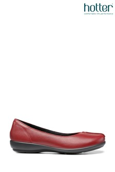 Hotter Red Robyn Slip-On Ballerina Shoes