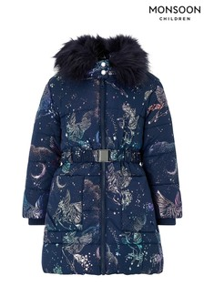 Monsoon Children Navy Luna Foil Padded Coat