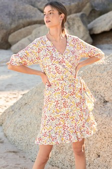 Платье мини из льняной ткани с оборкой