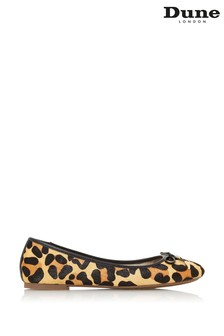 Dune London Leopard Harpar Print Leather Branded Ballerinas