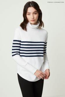 French Connection White Placement Stripe Jumper