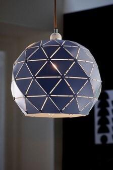 Navy Blue Geometric Reversible Pendant