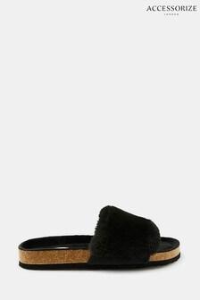 AccessorizeLuxuriöse Slipper aus Fellimitat mit Kork-Fußbett