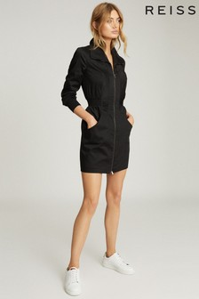 Reiss Black Greta Zip Through Utility Dress