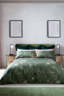 Green 300 Thread Count Bamboo Oriental Collection Luxe Duvet Cover and Pillowcase Set