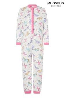Monsoon Unicorn Print Jersey Sleepsuit