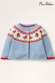 Boden Blue Fairisle Pattern Cardigan