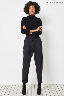 מכנסיים מפוספסים שלMint Velvet בשחור